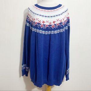 WOMAN WITHIN fair isle yoke cotton acrylic pullover crew neck sweater 2X